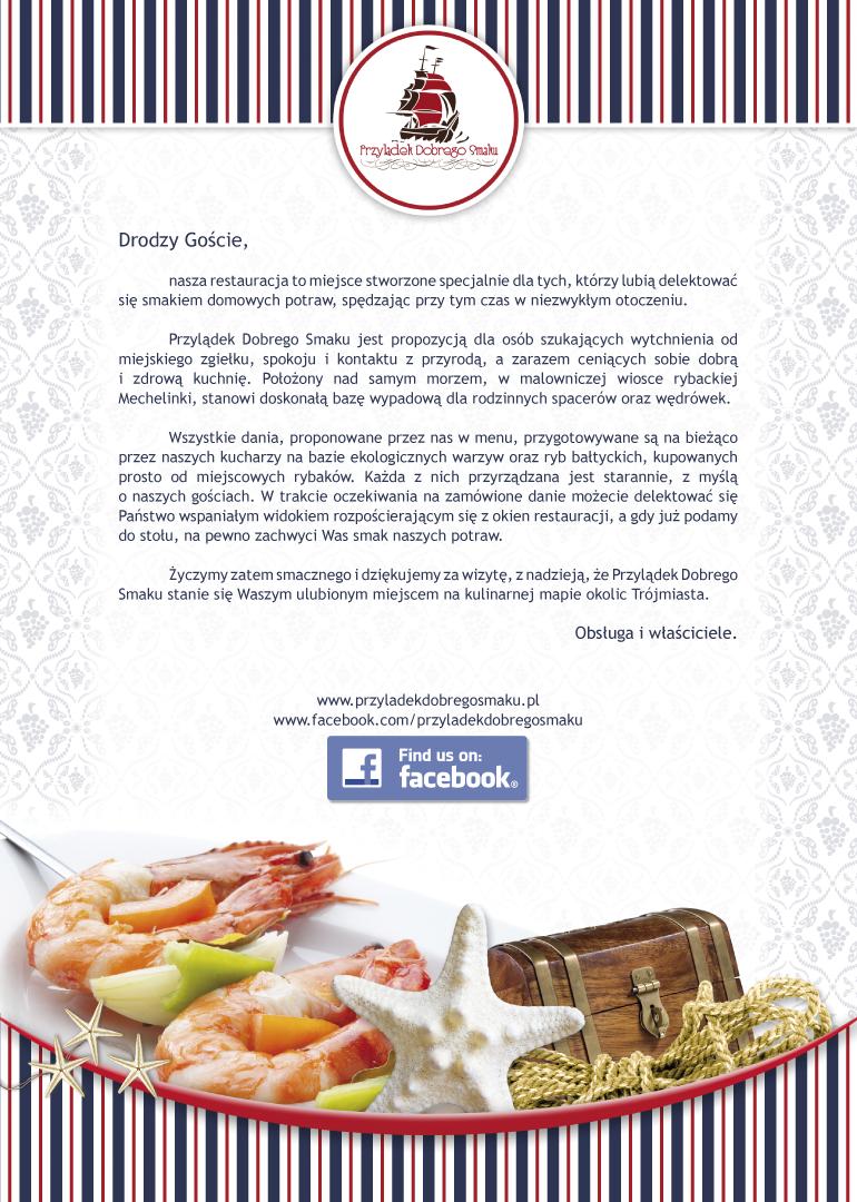 Menu dla restauracji Przylądek Dobrego Smaku w Mechelinkach