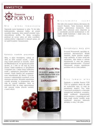 Mailing dla f4U dotyczący inwestowania w wino