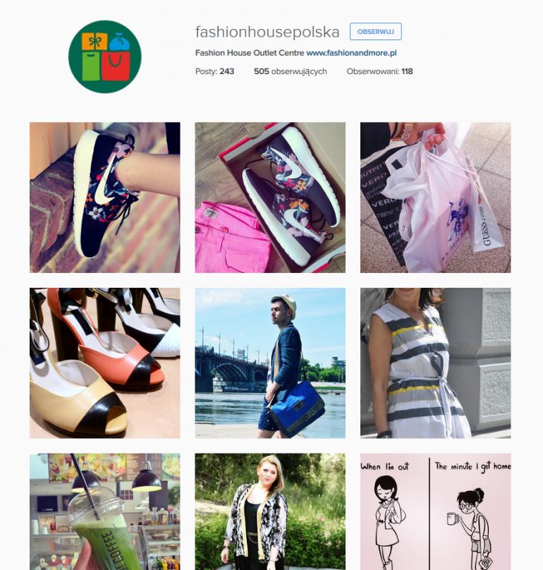 Profil Fashion House na Instagramie